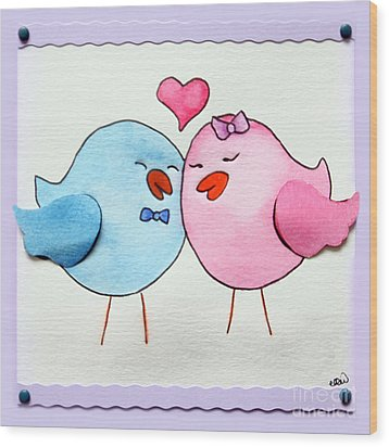 Cute Lovebirds Watercolour Wood Print