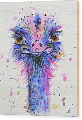 Cute Ostrich Wood Print by Zaira Dzhaubaeva
