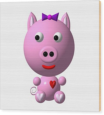Cute Pink Pig With Purple Bow Wood Print