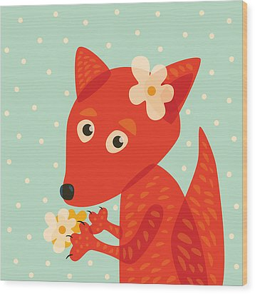 Cute Pretty Fox With Flowers Wood Print