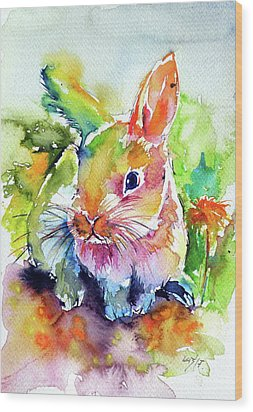 Wood Print featuring the painting Cute Rabbit by Kovacs Anna Brigitta