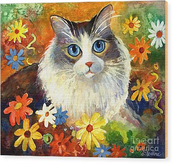 Cute Ragdoll Tubby Cat In Flowers Wood Print by Svetlana Novikova