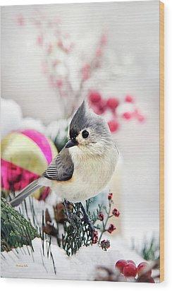 Cute Winter Bird - Tufted Titmouse Wood Print by Christina Rollo