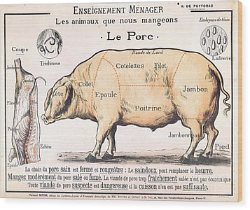 Cuts Of Pork Wood Print by French School