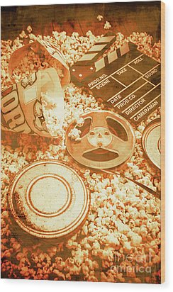 Cutting A Scene Of Vintage Film Wood Print by Jorgo Photography - Wall Art Gallery