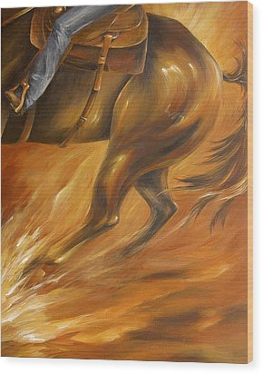 Wood Print featuring the painting Cutting Horse Closeup 2 by Dina Dargo