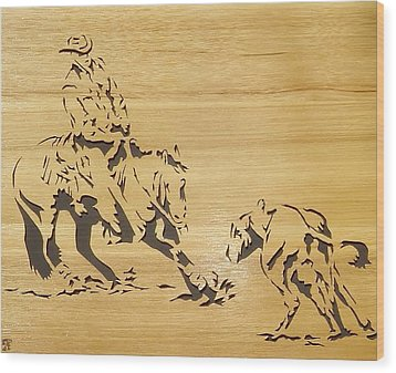 Cutting Horse Wood Print by Russell Ellingsworth