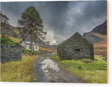 Wood Print featuring the photograph Cwmorthin Slate Ruins by Adrian Evans
