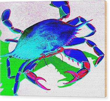Cyan Crab Wood Print