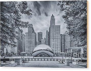 Cyanotype Anish Kapoor Cloud Gate The Bean At Millenium Park - Chicago Illinois Wood Print