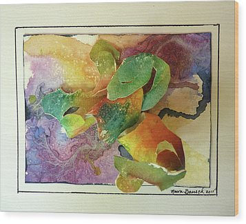 Wood Print featuring the painting Cyber-garden by P Maure Bausch