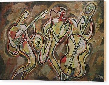 Cyber Jazz Wood Print by Leon Zernitsky