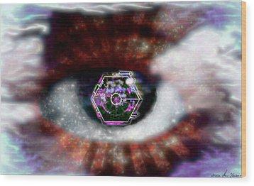 Wood Print featuring the digital art Cyber Oculus Cumulus by Iowan Stone-Flowers
