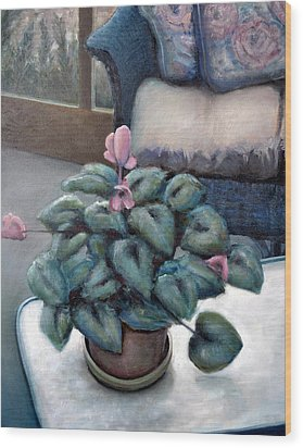 Cyclamen And Wicker Wood Print by Michelle Calkins