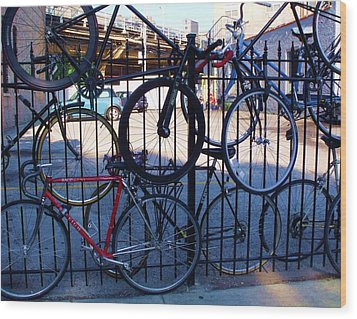 Cycle Fence Wood Print by Anna Villarreal Garbis