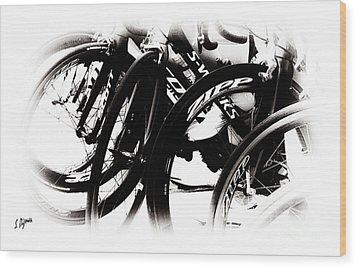 Cycling Art  Wood Print by Steven Digman