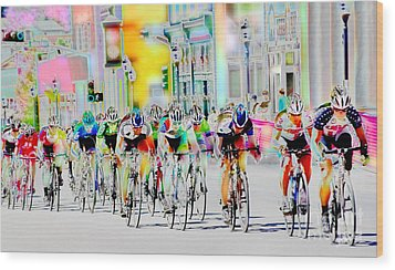 Cycling Down Main Street Usa Wood Print