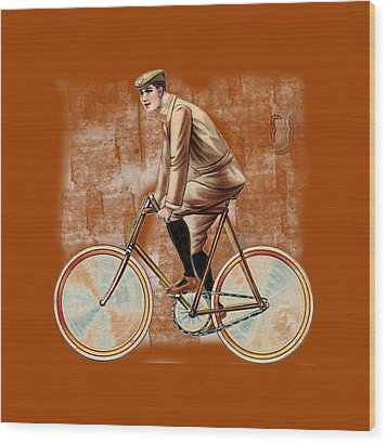 Wood Print featuring the digital art Cycling Man T Shirt Design by Bellesouth Studio