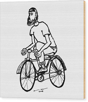 Cyclist - Bike Rider Wood Print by Karl Addison
