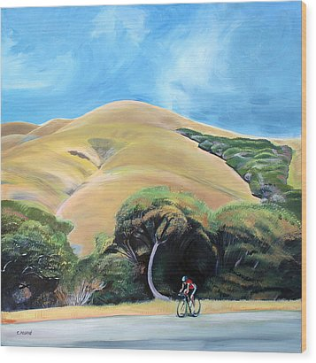 Cyclist By Elephant Mountain Wood Print by Colleen Proppe