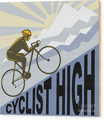 Cyclist Racing Bike Wood Print by Aloysius Patrimonio