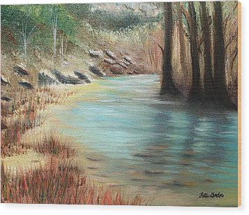 Cypress Bend Wood Print by Patti Gordon
