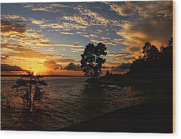 Cypress Bend Resort Sunset Wood Print by Judy Vincent