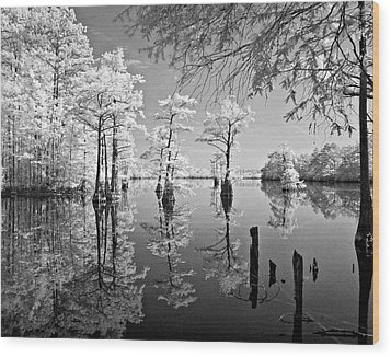 Cypress In Walkers Mill Pond Wood Print by Bob Decker