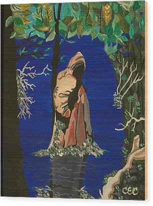 Wood Print featuring the painting Cypress Knee by Carolyn Cable