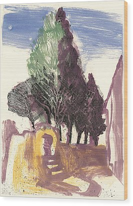 Wood Print featuring the painting Cypresses Bonnieux by Martin Stankewitz