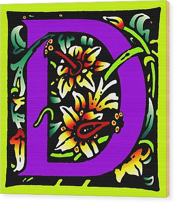 D In Purple Wood Print by Kathleen Sepulveda