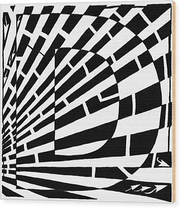 D Maze Wood Print by Yonatan Frimer Maze Artist