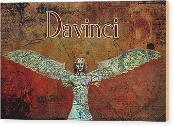 Wood Print featuring the digital art da Vinci 2023 by Greg Sharpe