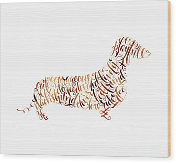 Wood Print featuring the painting Dachshund by Laura Bell