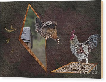 Dad Look I Am Jumping Wood Print by Donna Brown