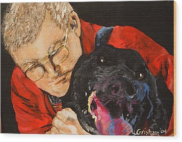 Wood Print featuring the painting Daddy And Borus by Laura  Grisham