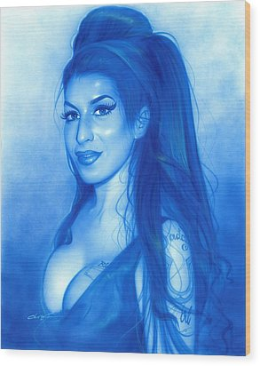 Amy Winehouse - ' Daddy's Girl ' Wood Print by Christian Chapman Art