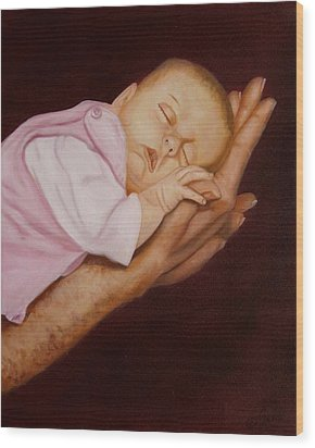 Wood Print featuring the painting Daddy's Little Girl by Joni McPherson