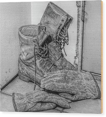 Dads Boots Wood Print by Randy Steele