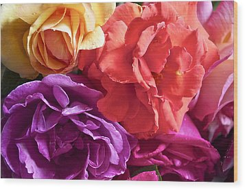 Dad's Roses Wood Print by Gwyn Newcombe