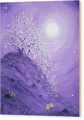Daffodil Dawn Meditation Wood Print by Laura Iverson