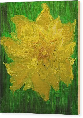 Wood Print featuring the painting Daffodil by Evelina Popilian