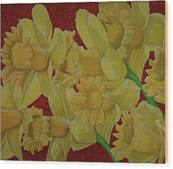 Wood Print featuring the painting Daffodil Grandiflora by Paul Amaranto