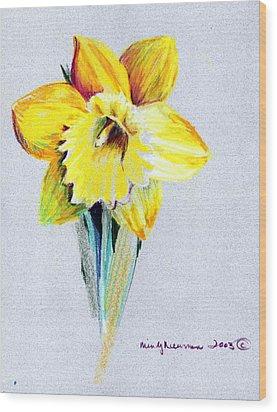 Daffodil Wood Print by Mindy Newman