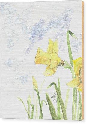Daffodils Wood Print by Denise   Hoff