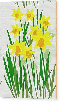 Daffodils Drawing Wood Print
