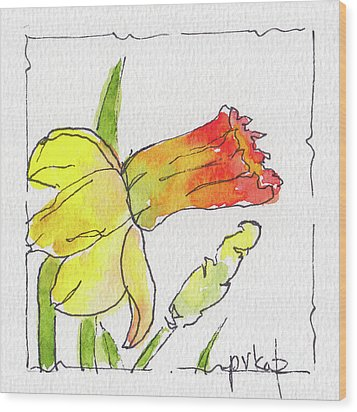 Wood Print featuring the painting Daffodils In January by Pat Katz