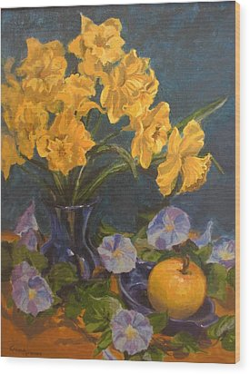 Wood Print featuring the painting Daffodils by Karen Ilari