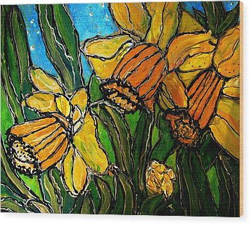 Wood Print featuring the painting Daffodils by Laura  Grisham