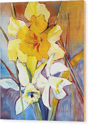 Daffodils Wood Print by Peggy Wilson